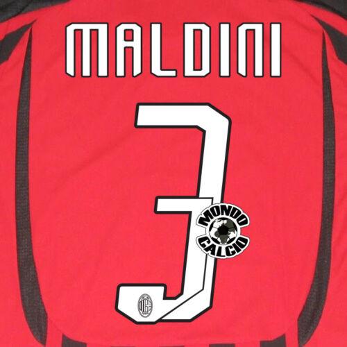 MALDINI PERSONALIZZAZIONE MILAN HOME NOME E NUMERO KIT SET NAME 2007-08