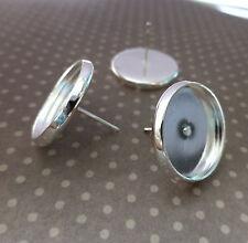 10 pcs Brass Ear Stud Cabochon Settings, Ear stud blanks, Earrings, 12 mm dia