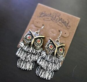 Details About Nwt Lucky Brand Br Silver Owl Bird Dangle Drop Earrings New