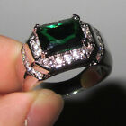 Handmade Stainless Steel Mens Green CZ Statement Ring Size 9,10,11 Free Shipping