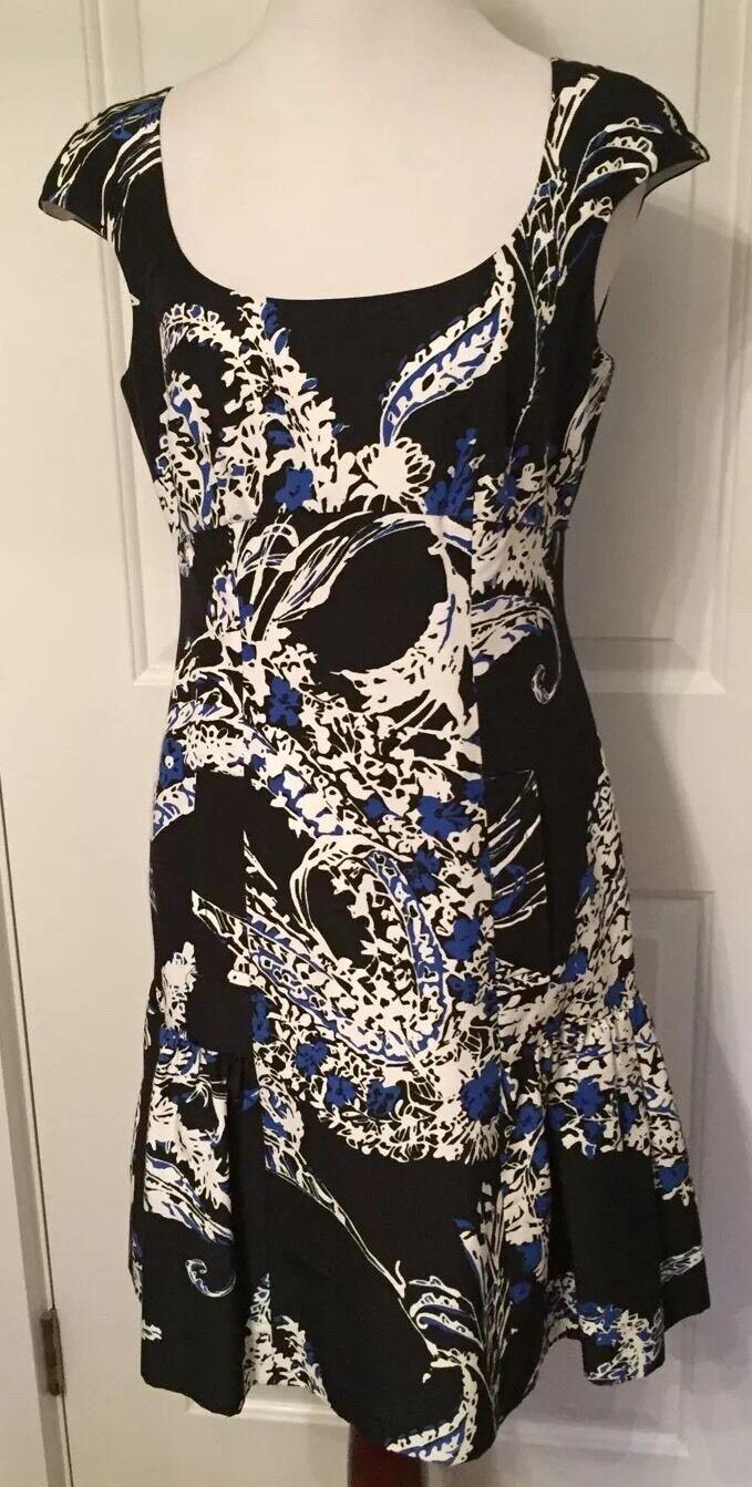 Per Se Dress Sleeveless 2 US Floral Print schwarz Weiß Blau Flounce Scoop