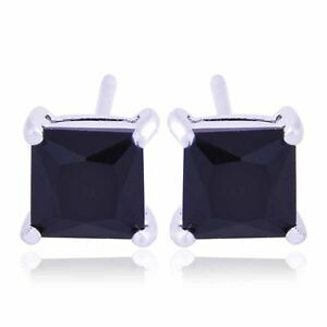 Image Is Loading Mens Black Earrings White Gold Filled Crystal Punk