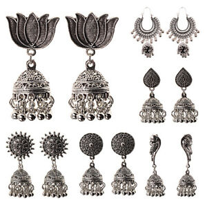 India-Silver-Oxidized-Stud-Jhumka-Multi-style-Indian-Earrings-Jewelry-For-Girls