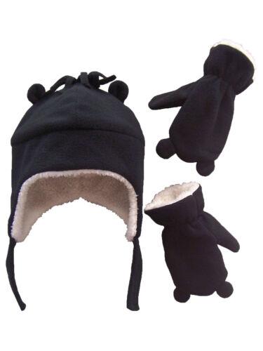 NICE CAPS Boys Toddler Baby Winter Snow Fleece Hat Mitten Headwear Set with Ears