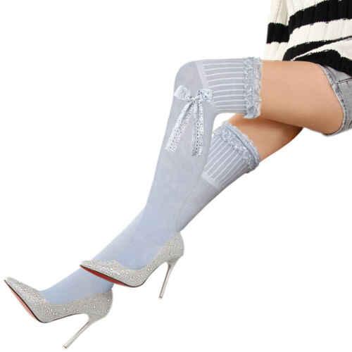 ladies vanilla cream thigh high stockings over knee hold ups socks lace bow
