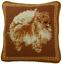 "10/"" x 10/"" Handmade Wool Needlepoint Petit Point Brown Pomeranian Dog Pillow"
