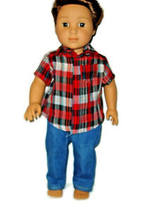 Jeans-amp-Plaid-Shirt-doll-clothes-for-Boys-fits-American-Girl-Boy-dolls-Red
