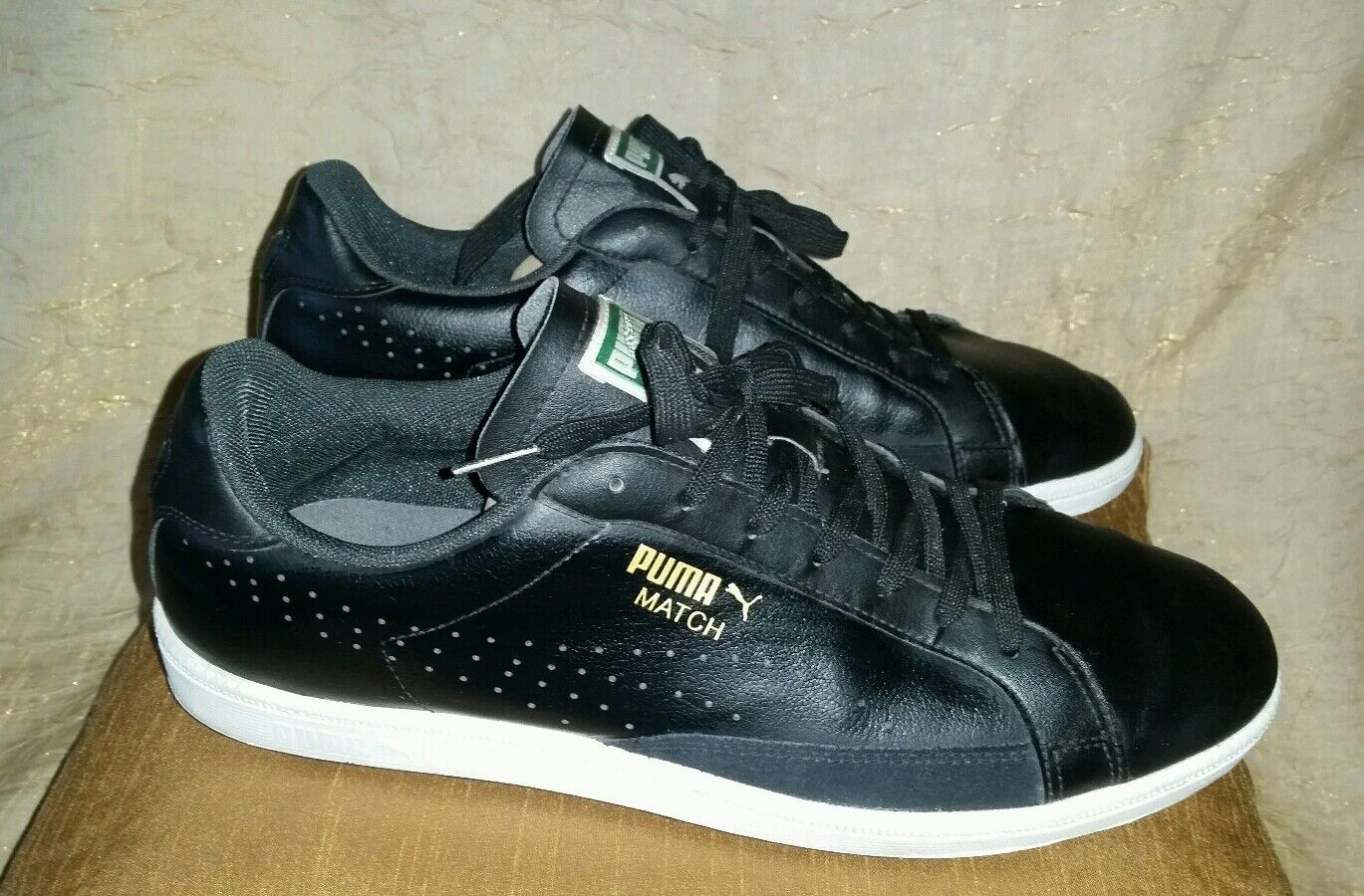 Puma Match Negro leather zapatos Blanco trim firma zapatillas zapatos leather tenis casual salvaje 46 12 6a96b9