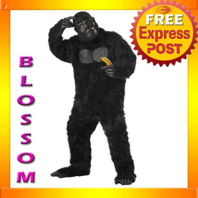 C126 Mens Gorilla Mighty Ape Monkey Scary Halloween King Kong Animal Costume