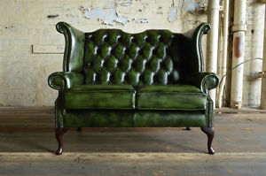 Stupendous Details About Traditional Handmade Antique 2 Seater Green Leather Chesterfield Sofa Machost Co Dining Chair Design Ideas Machostcouk