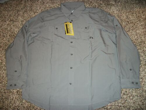 UNDER ARMOUR New NWT Mens Dress Shirt Button Up Hydro Gray Grey Long Sleeve XL