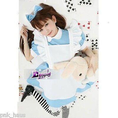 Alice in Wonderland Mädchen Schülerin Cosplay Kostüm Verkleidung Rock hell blau