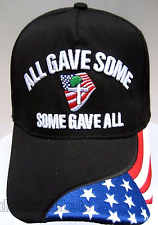 ALL GAVE SOME-SOME GAVE ALL Hat W/Flag Black U.S.MILITARY Free Shipping