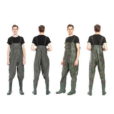 surepromise PVC Bota Transpirable Pecho Vadeadores de Pesca Pantalones de Pesca Talla 42 43 44 Impermeable Camuflaje
