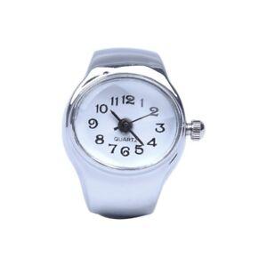 Uhr-Quarzwerk-ovaler-Ring-Legierung-Dekor-Frau-WEISS