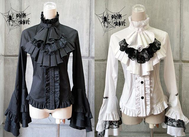 Romantische Gothic Punk Rave Damen Bluse schwarz WGT M'era Luna Y-213