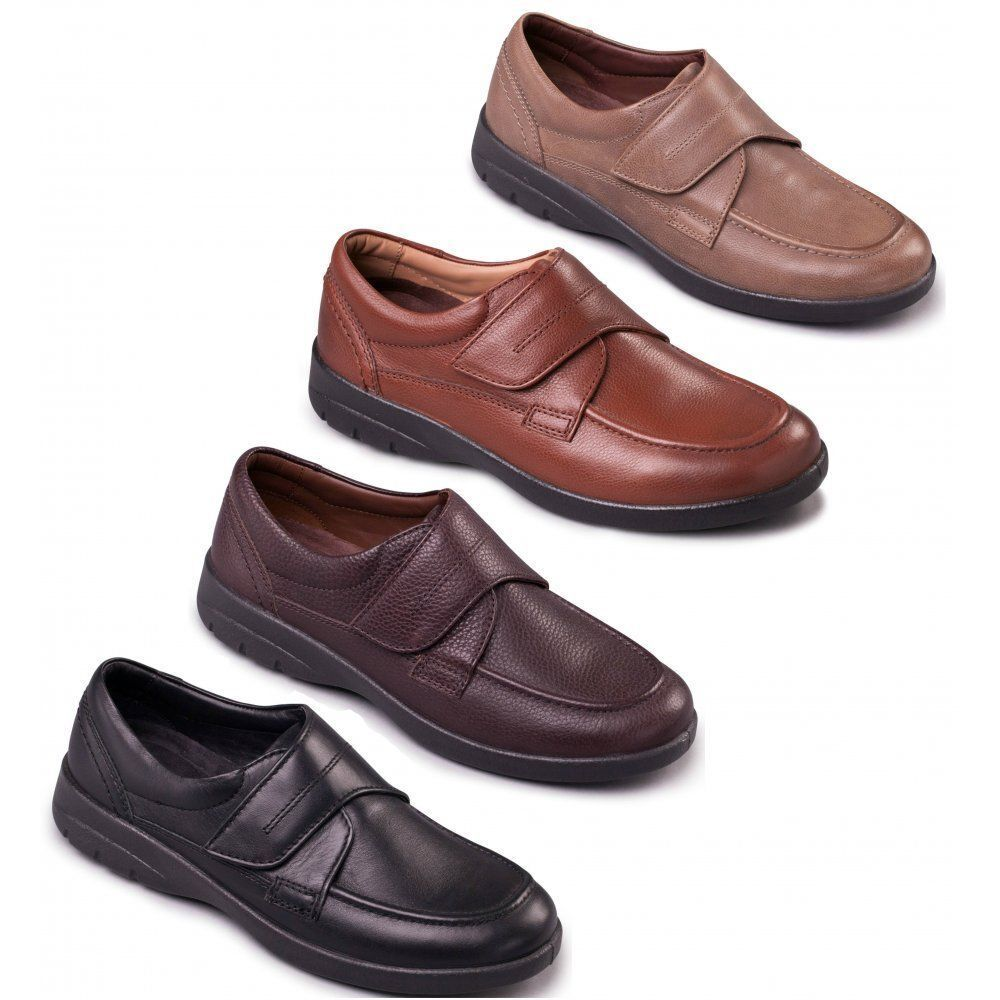 Padders SOLAR Men Soft Casual Leather Extra Wide Strap Fitting Comfort schuhe