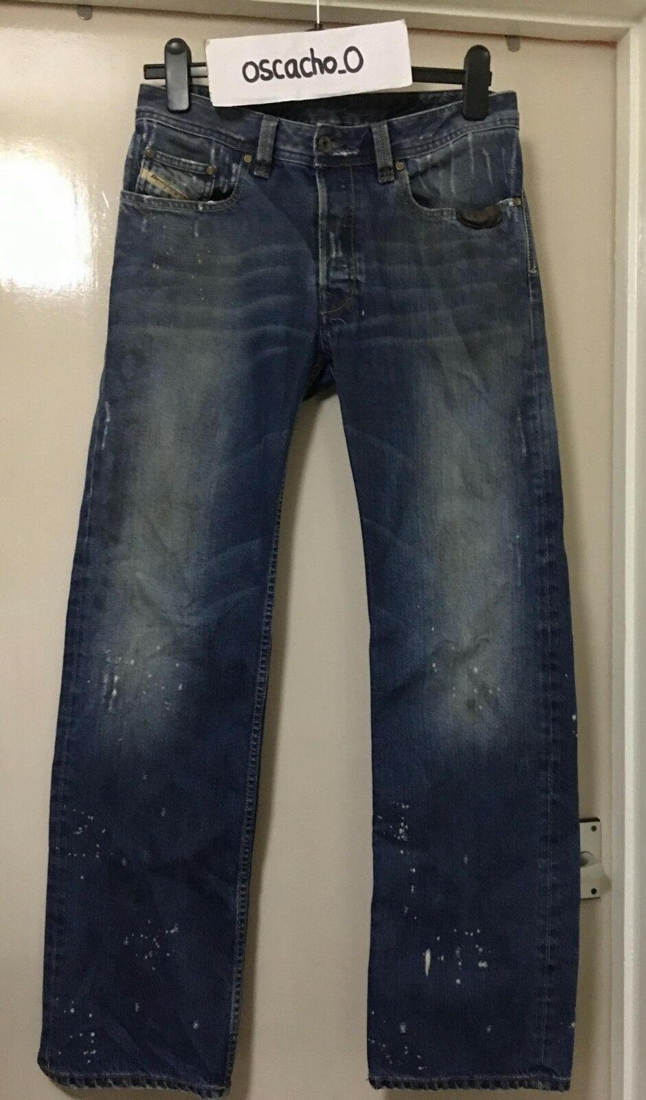 Men's Diesel Levan Paint Dots Faded Straight bluee Jeans 30x32 (Made in )