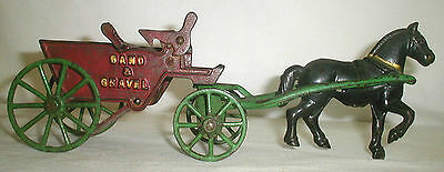 Vintage Antique Kenton ? Cast Iron Sand & Gravel Horse & Dump Wagon Trailer Cart