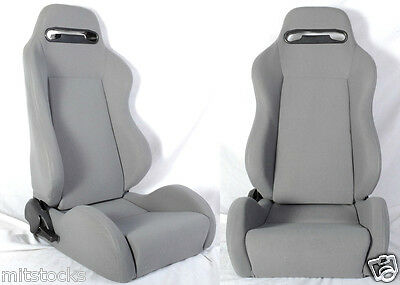 1 Pair Gray /& Black Racing Seat RECLINABLE Sliders ALL Ford B