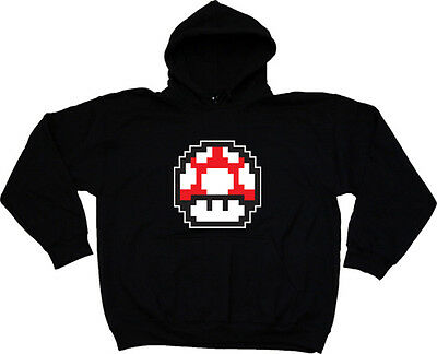Mario Mushroom Hooded Sweatshirt Hoody S-XXL # Black