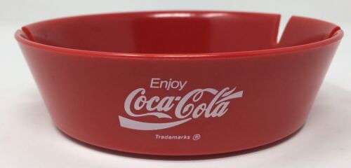"Coca-Cola Ashtray Red Plastic 4.5/"" Rim Diameter 3.75/"" Base Diameter Made in USA"