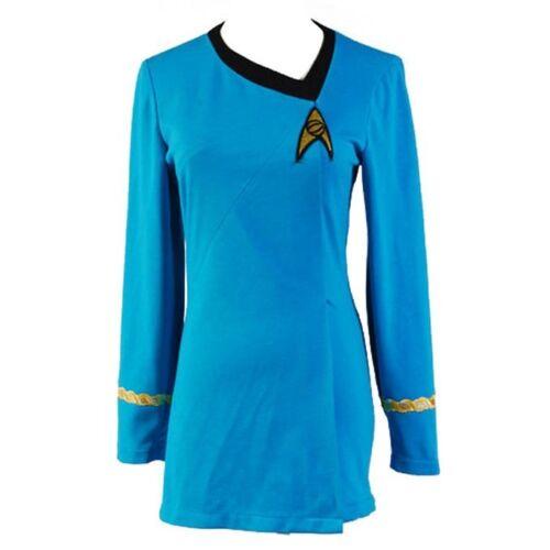 Star Trek la femelle droit Uniforme Robe Femme Cosplay Costume Robe Bleu