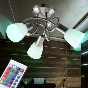Decken 3-flammig Lampe Wohn Ess Flur Büro Schlaf Zimmer Glas Metall eckig Dekor