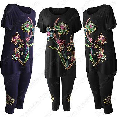 Symbol Der Marke Women 2-pc T-shirt Capri Plus Size Suit Ladies Glitter Print Top 3/4 Legging Set
