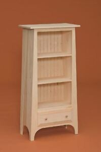 AMISH Unfinished Pine ~ SLANTED SHAKER BOOKCASE w/Drawer Country STORAGE