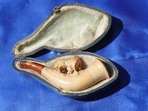 Image is loading ANTIQUE-Genuine-Hand-Carved-Meerschaum-Pipe-HORSE-w- & ANTIQUE Genuine Hand Carved Meerschaum Pipe HORSE w Orig Case Made ...
