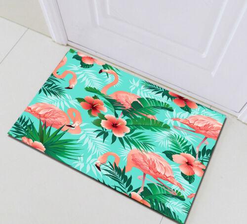 Tropical Plants Flowers Flamingos Waterproof Fabric Shower Curtain Set Bathroom