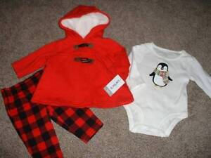 a8377681d Carters Baby Girl Red Penguin 3pc Outfit Set Size 3 Months 3M NWT 0 ...