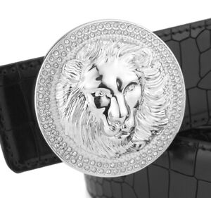 QHA-Mens-Lion-Diamond-Genuine-Leather-Belt-Buckle-Gift-Q5042