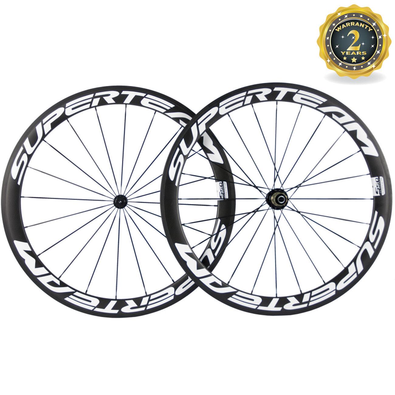 Superteam 50mm Carbon Wheels R13 Hub Clincher Cycling Carbon Wheelset White Logo