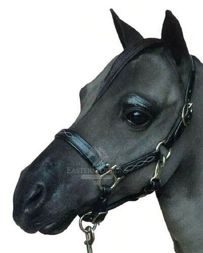 Leather Head Collar for Miniature Horses Pony Shetland Black with Silver Fitting