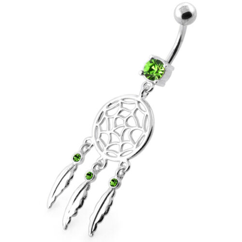14 g 5 mm 925 Sterling Silver Classic Dream Catcher Belly Button Ring