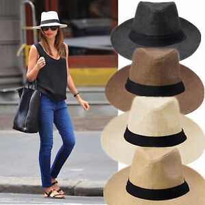 Men Women Fedora Panama Wide Brim Trilby Straw Cap Sun Hat Beach ... 06ad52369246