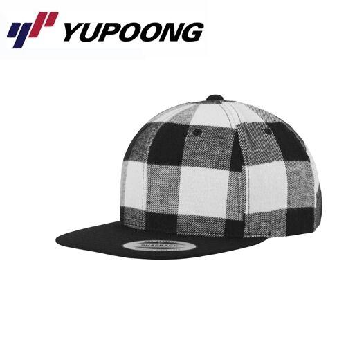 Yupoong checked FLANELLA snapback cap nero bianco