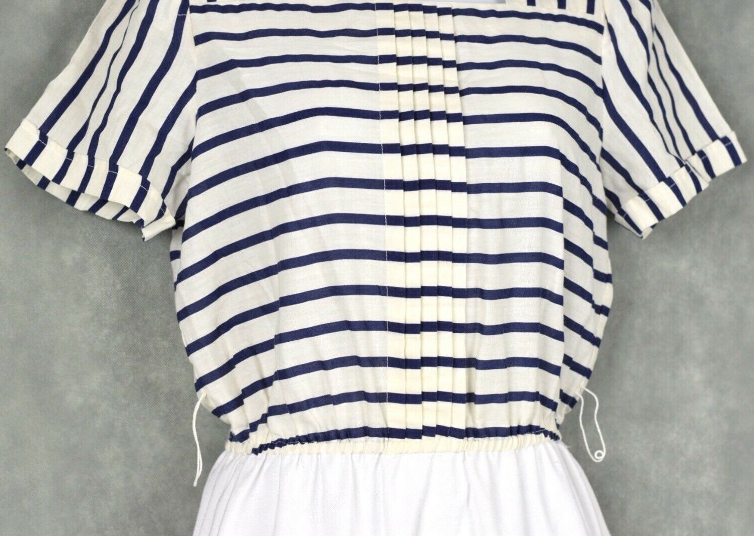 Vintage No Brand White And Blue Dress Lot Size 12 - image 3