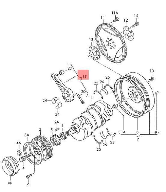 Genuine Connecting Rods Set Audi Vw A4 Avant S4 Cabrio Quattro