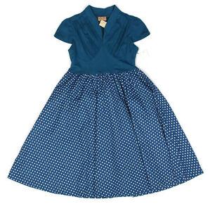 Lindy-Bop-Nuevo-Con-Etiquetas-Retro-Rockabilly-Azul-Lunares-Falda-Completa-Vestido-De-Swing-Tamano