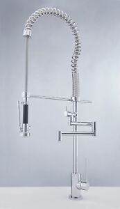 Details About Commercial Style Spring Pull Down Kitchen Faucet Pre Rinse Spray Made In Italy