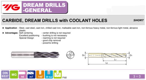 4.4mm Carbide Dream Drill 3XD TiAlN Coated For Multi-Purpose Coolant-Thru