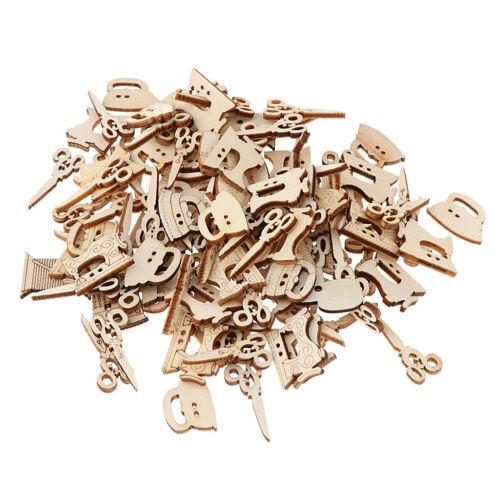 100 Stücke aus Holz Nähen Serie Dekoration Spielerei Ornamente Handwerk