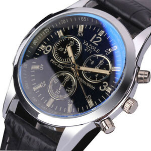 Fashion Mens Black Leather Stainless Steel Military Sport Quartz Wrist Watch /1318474