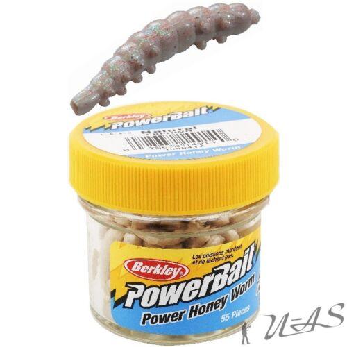 Berkley Power Honey Worms Weiss Glitter 2,5CM 55Stück Bienenmade Kunstköder Sha
