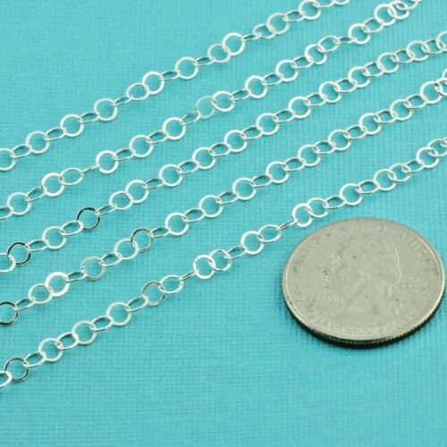 3.7mm Sterling Silver Bulk Chain Flat Round Circle Cable link By Foot