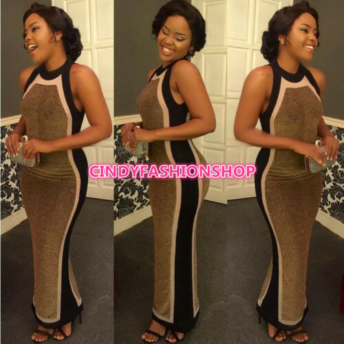 New Womens  Celebrity Sleeveless  Evening Party Formal Cocktail Long Maxi Dress