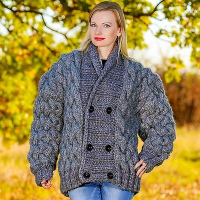 67c3fd60c4071 3 KG Hand Knitted Mohair Wool Sweater Coat Chunky Cardigan by SUPERTANYA M  L XL